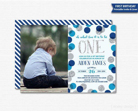 first birthday invitation boys photo invitation picture invitation