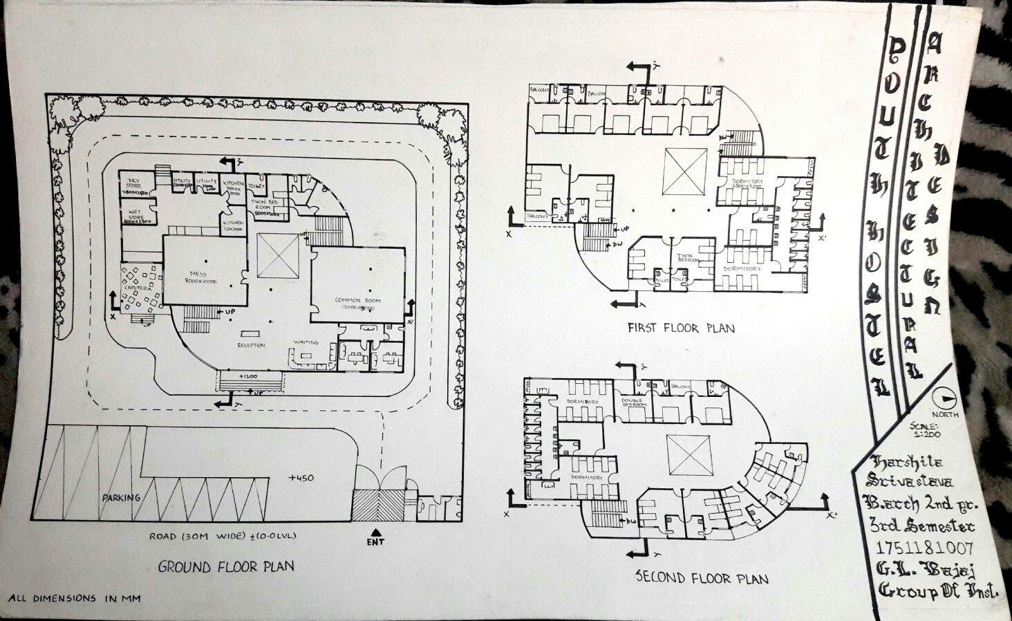 Youth Hostel Floor Plans Design Project A2 Textured Sheet Stedler Colours Hostels Design Architecture Presentation Board Floor Plan Design