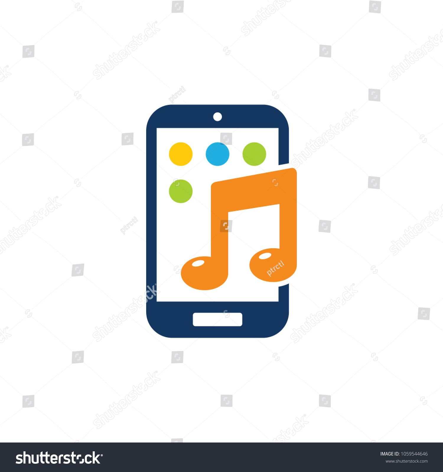 Music Mobile Phone Logo Icon Design