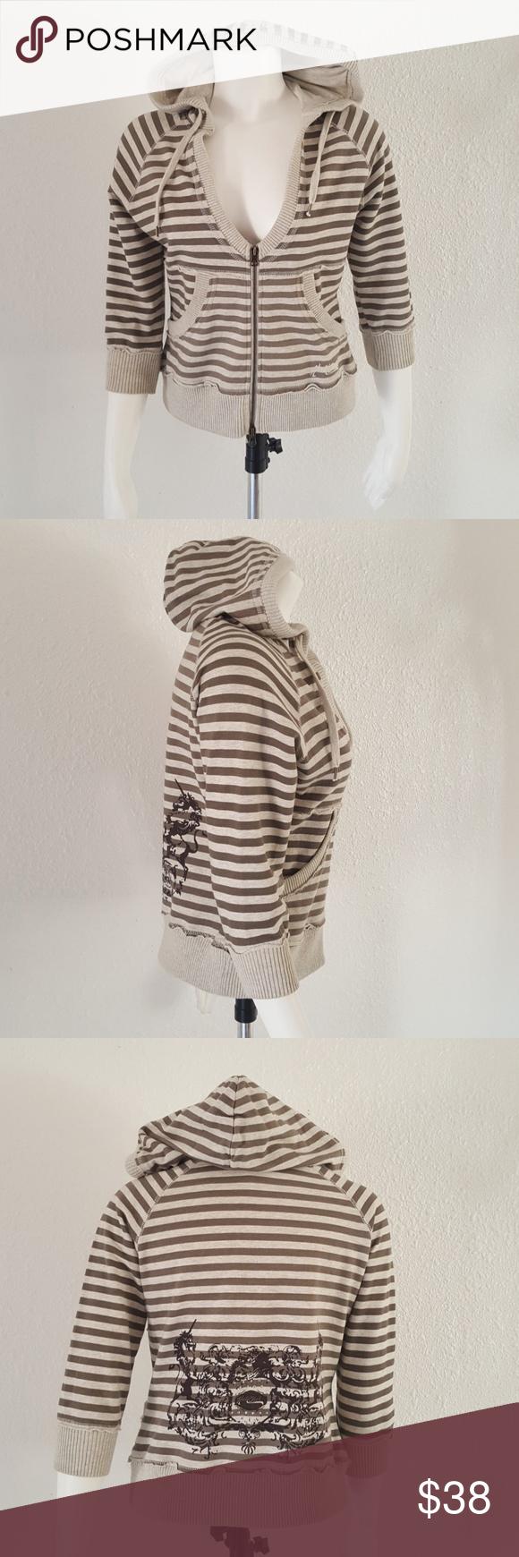 Hale Bob Crop BoHo Gray Striped Hoodie S Striped hoodie
