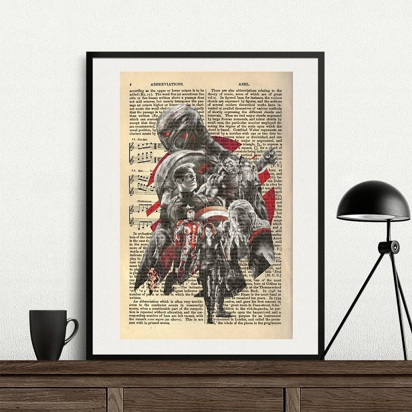 Avengers Age Of Ultron Dictionary Art Poster