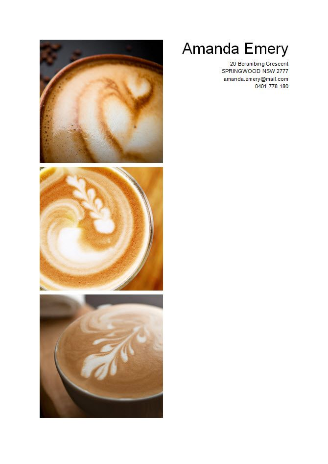 Sample Barista Resume - Page 1 Project Inspirations Pinterest - resume for barista