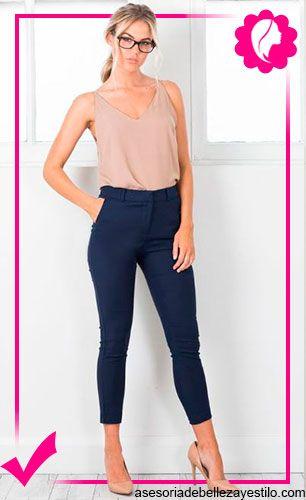 ce7e0e1f4 pantalón azul marino outfit - como combinar un pantalón azul marino mujer