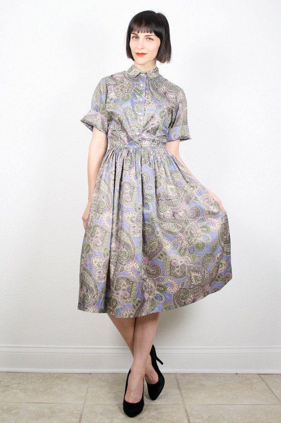 Vintage 60s Dress Day Dress Tea Length Shirt Waist Dress