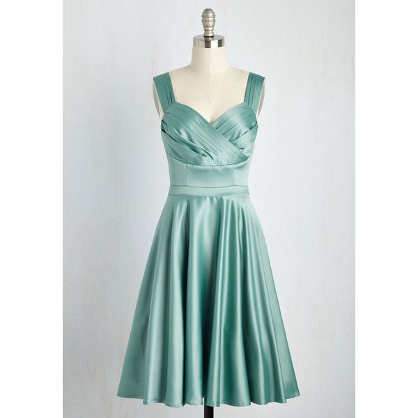 Vintage Inspired Mid-length Sleeveless Fit & Flare Cast an Elegance... ($90) ❤ liked on Polyvore featuring dresses, apparel, green, vintage style dresses, green mid length dress, pleated dresses, sleeveless pleated dress and over the shoulder dress