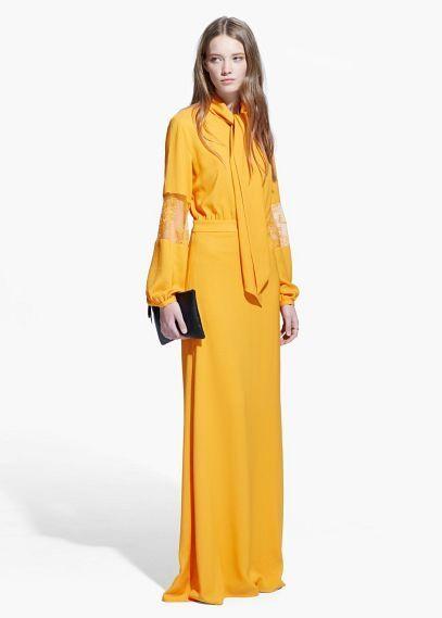 Robe longue jaune mango