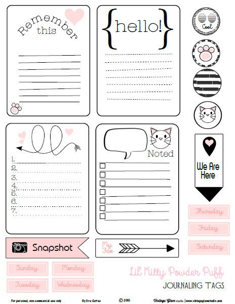 Kitty Whimsical Journaling Cards - Free Printable Download - agenda download free