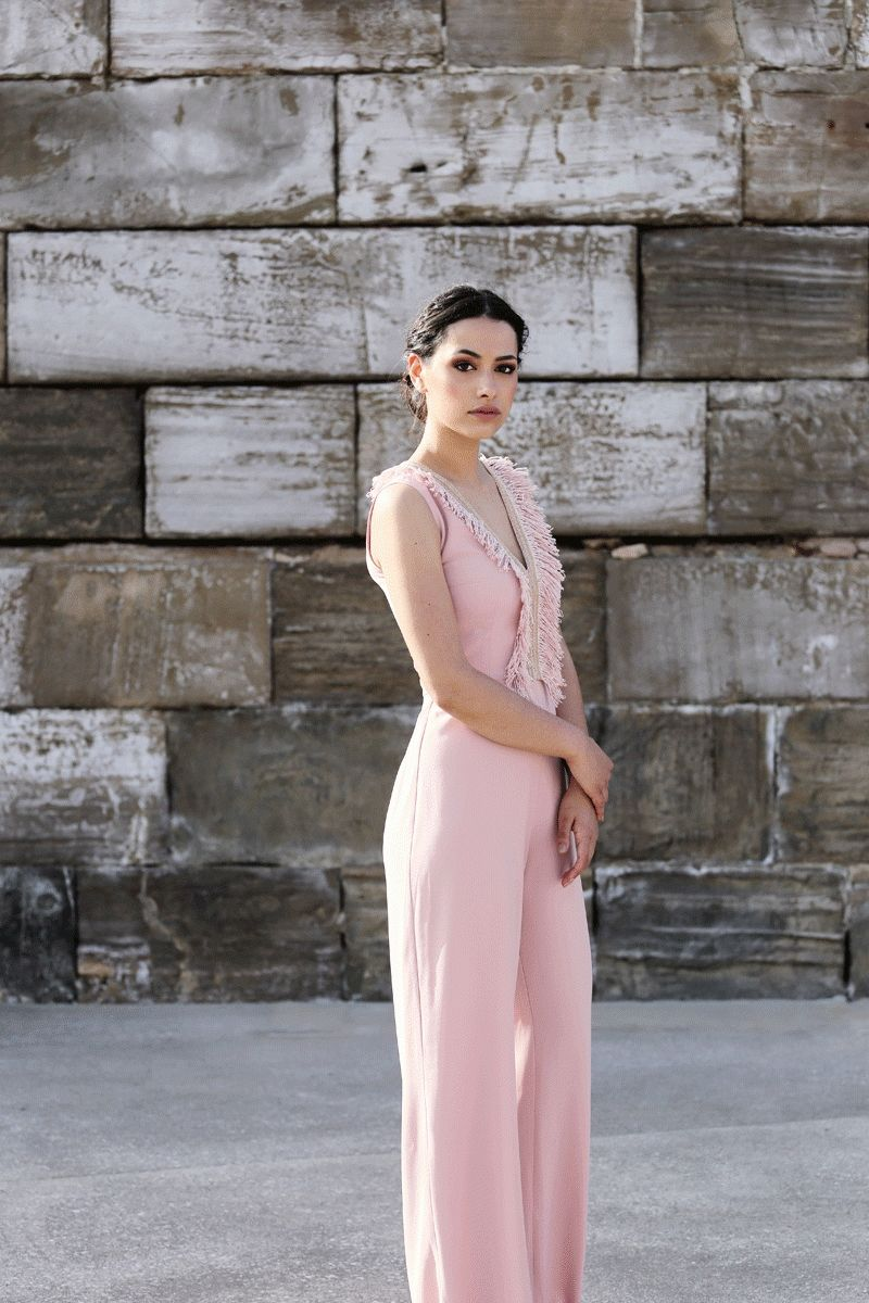 3979dfce28 comprar online mono rosa con detalle de flecos para boda fiesta evento  coctel bautizo comunion graduacion de apparentia