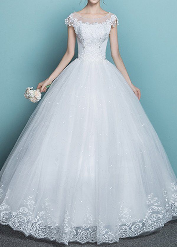 Lace Wedding Dress bridal gown sweet heart one shoulder princess ...