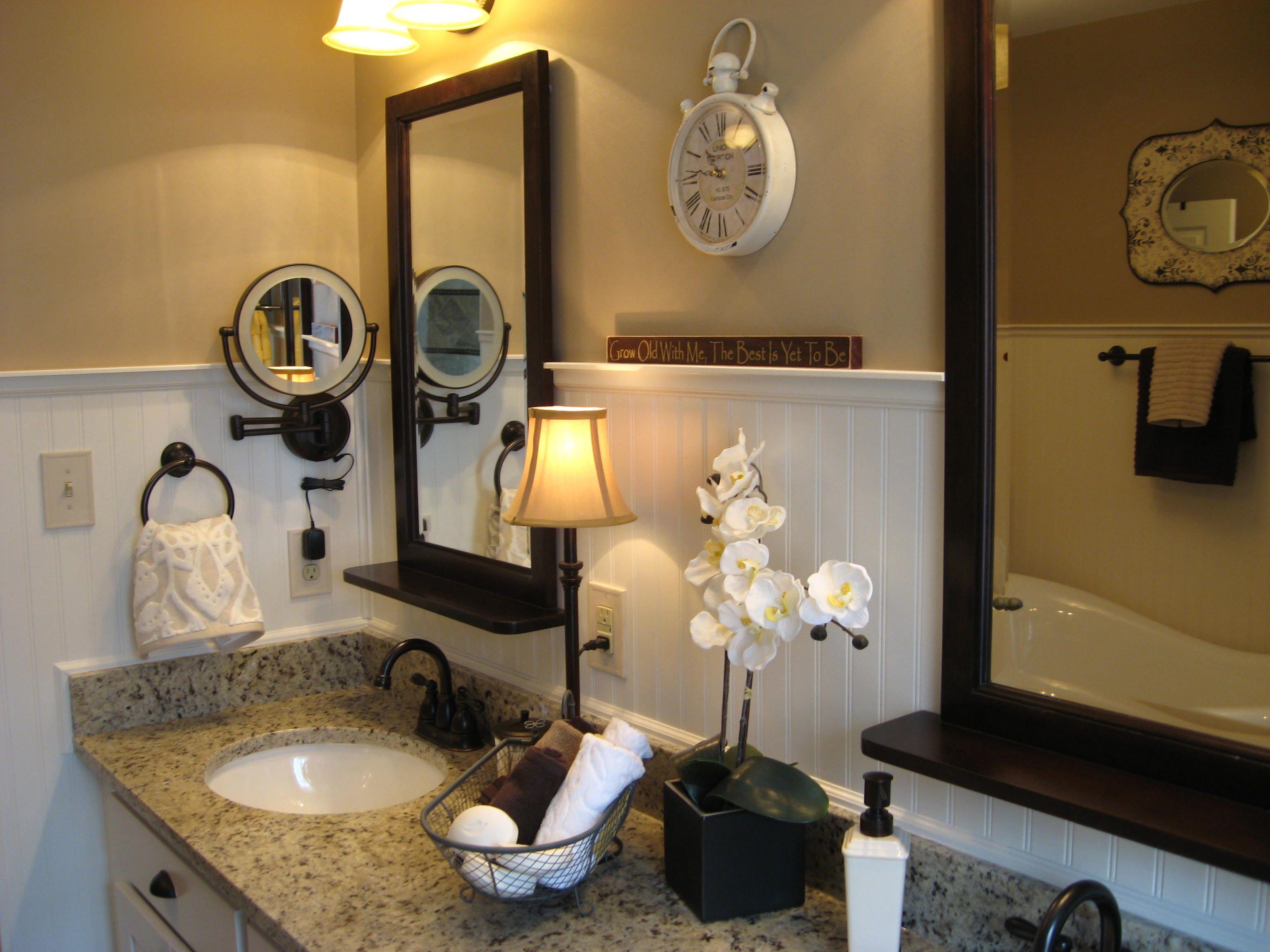 Granite vanity top, white wainscoting bathroom remodel ...