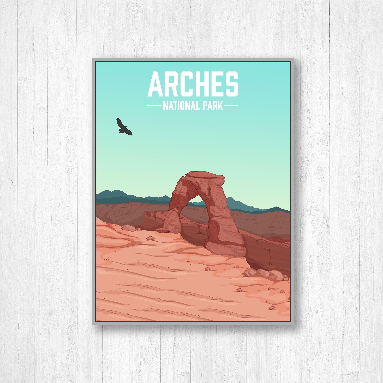 Arches National Park Modern Illustration Print Arches Etsy National Park Posters Illustration Print National Parks