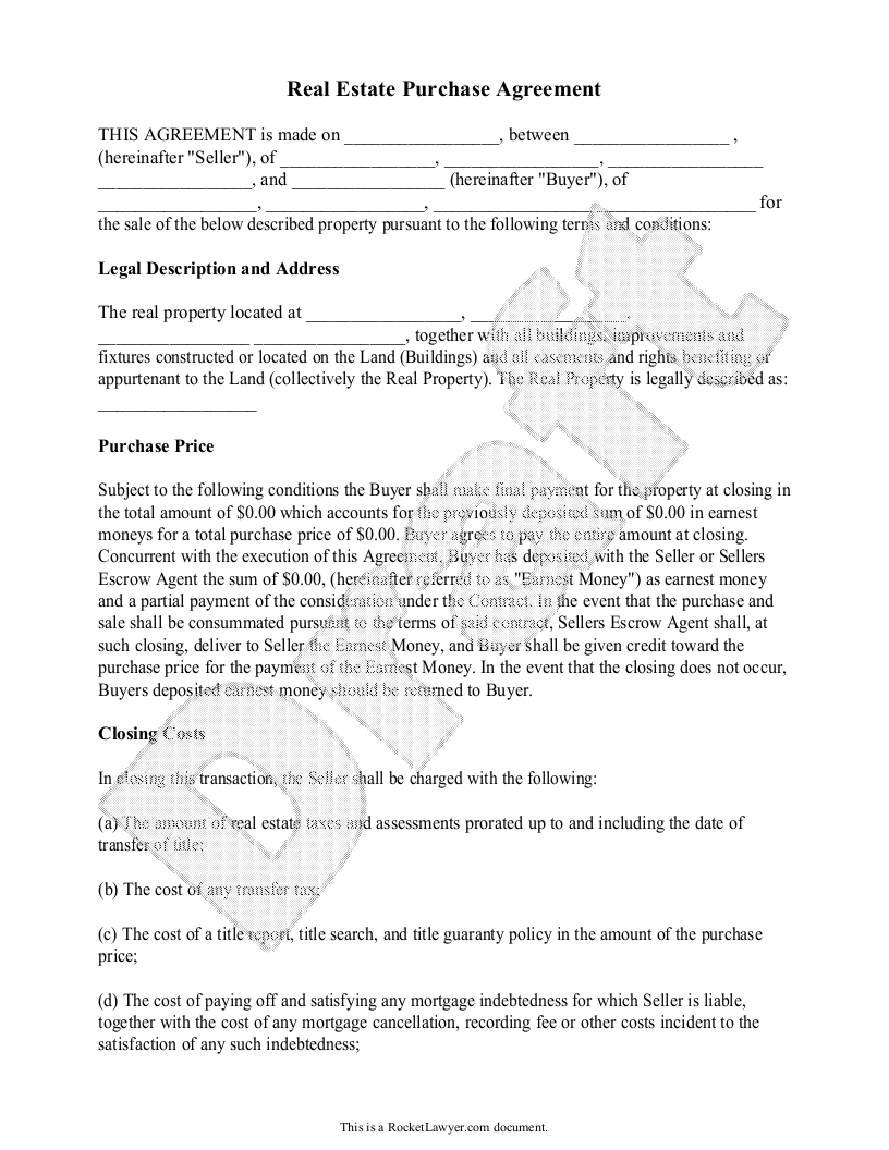 Real Estate Purchase Agreement Form   Free Templates (with Sample)   Free Purchase  Agreement