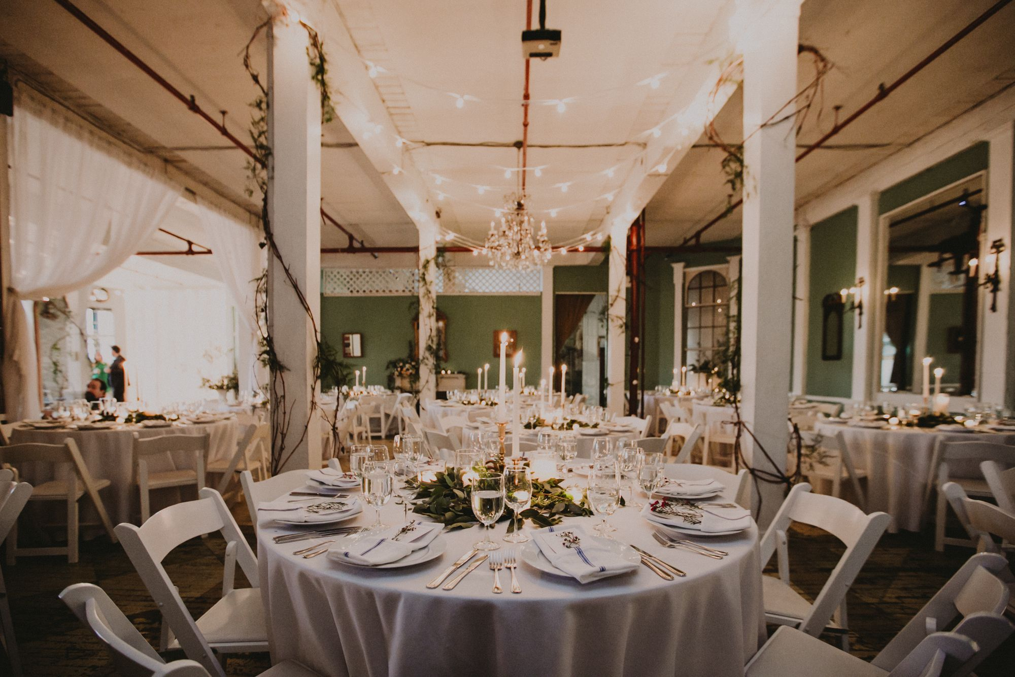 Candlelit Reception Rosemary herb place setting Chandelier ...