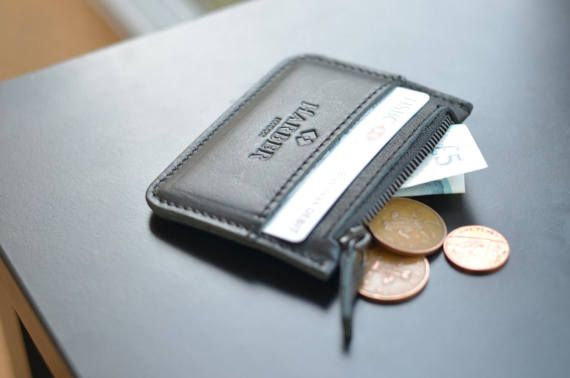 Leather Coin Pouch Wallet Slim Leather Cash Card Wallet 3 Pockets