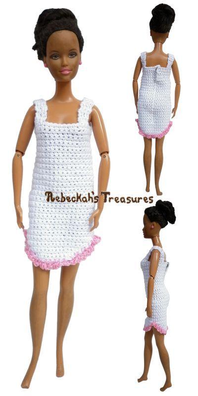 Fashion Doll Nightgown FREE Crochet Pattern   Barbie   Pinterest ...
