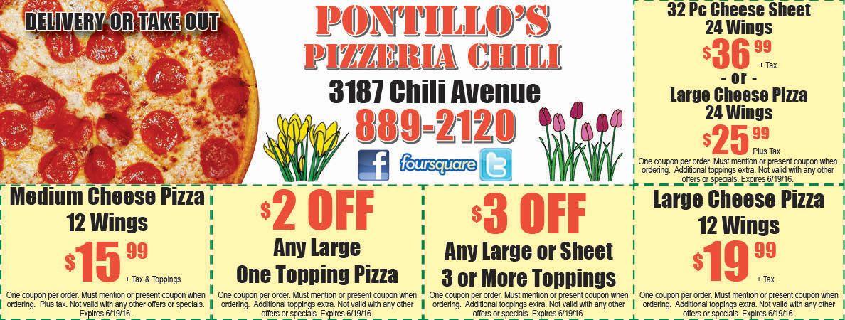 Pontillo S Pizzeria Chili Avenue Pizza Coupon Rochester Ny Chili Pizza Coupons Pizza Special