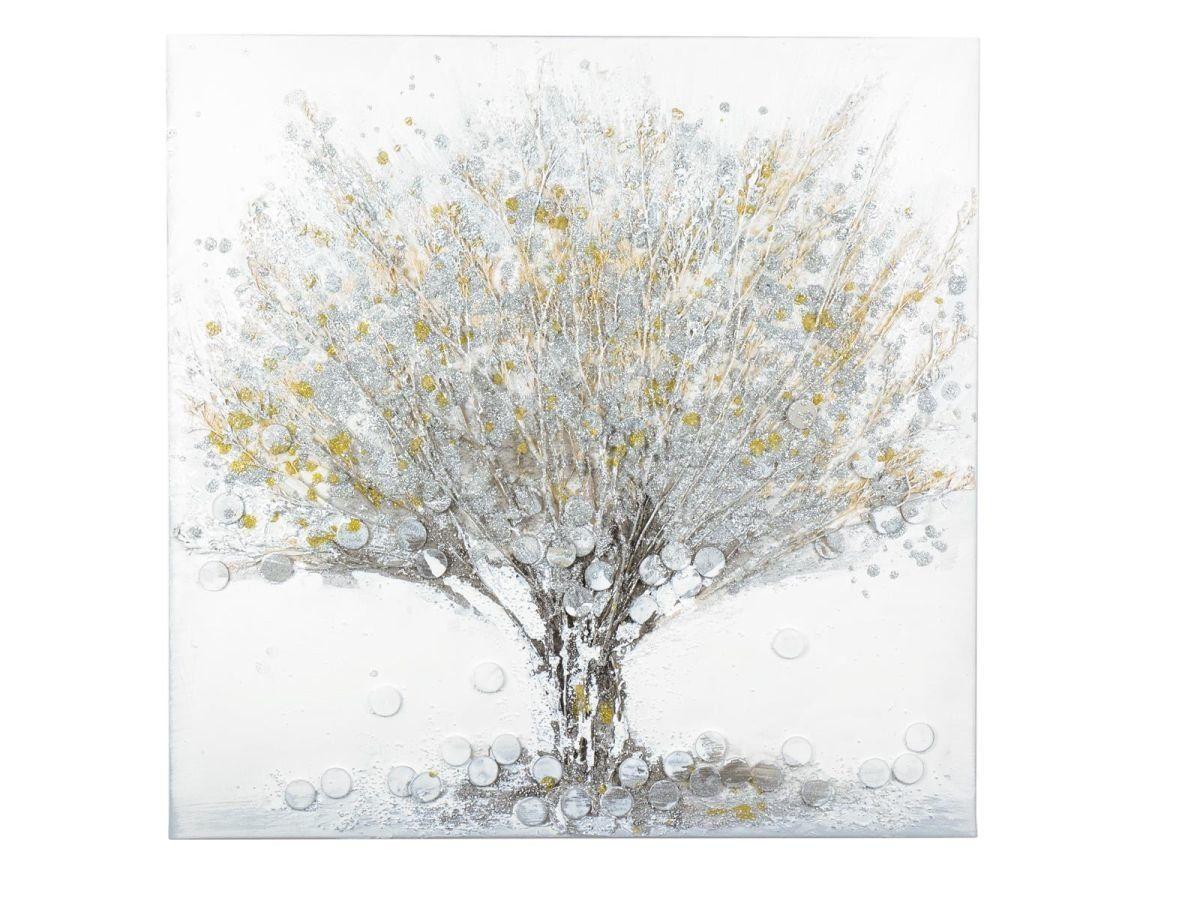 Exklusives Wandbild Baum 2tlg á50x50cm handgemalt mit 3D Effekt weiß silber gold