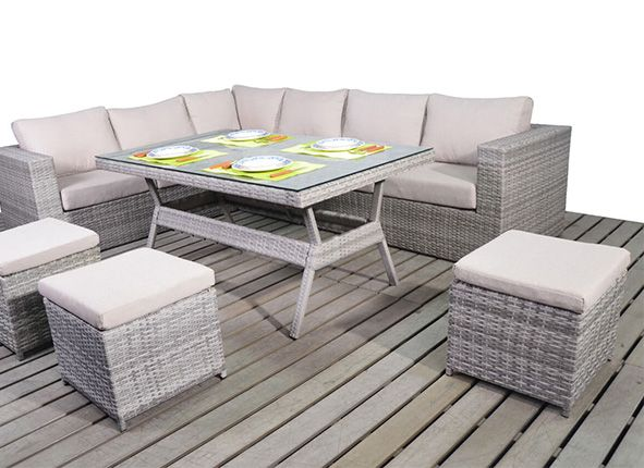 Rattan Garden Furniture Grey light grey corner dining set - left hand facing | rattan dining