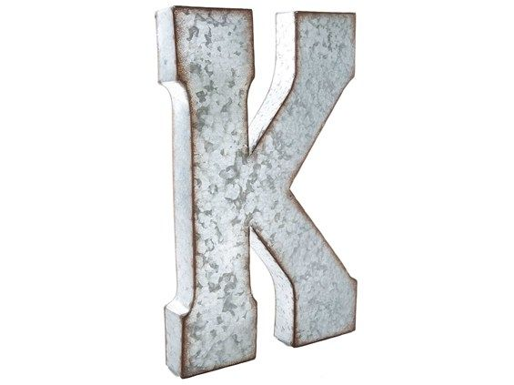 Galvanized Monogram Letters Large Galvanized Metal Letter  K $30  Letters  Pinterest