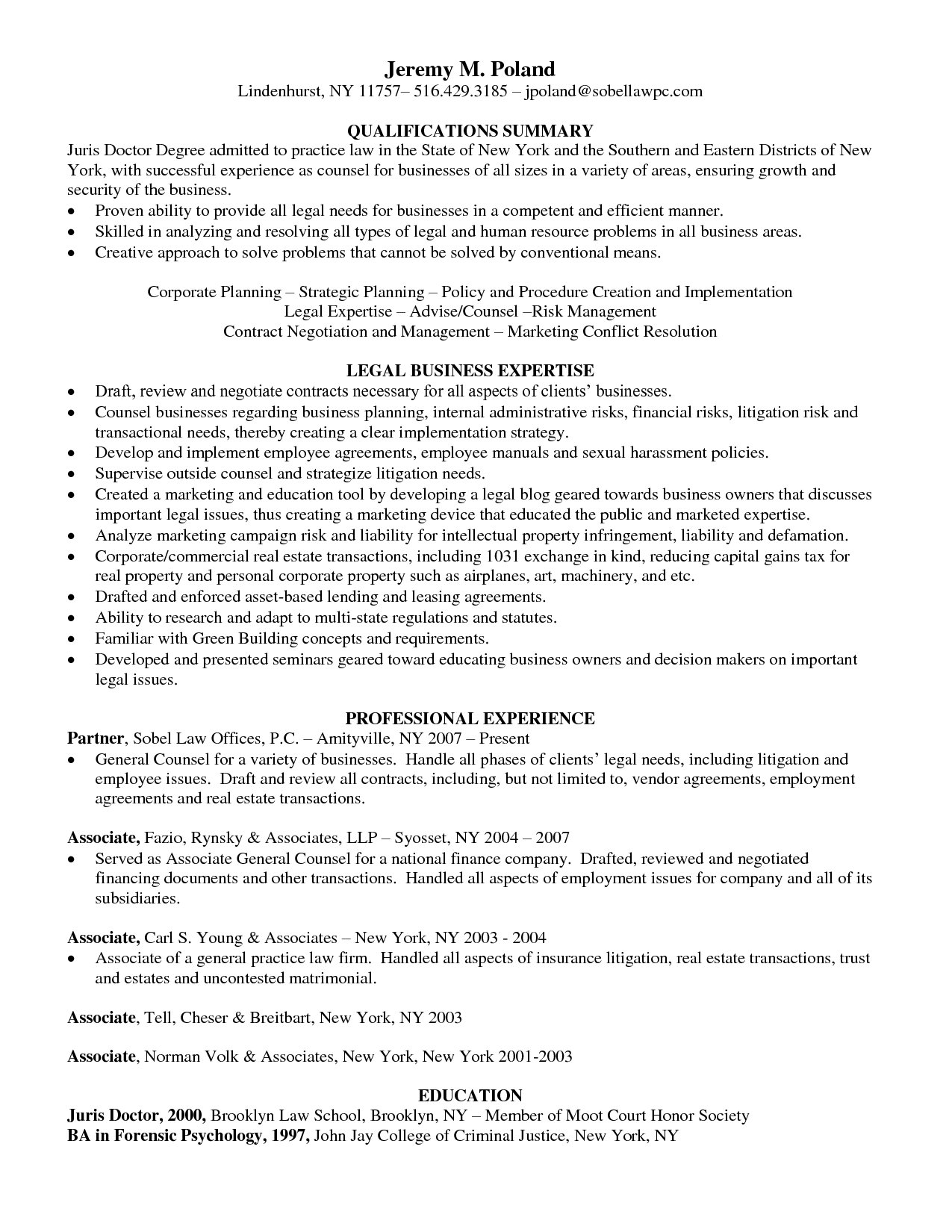 juris doctor resume general counsel business attorney in