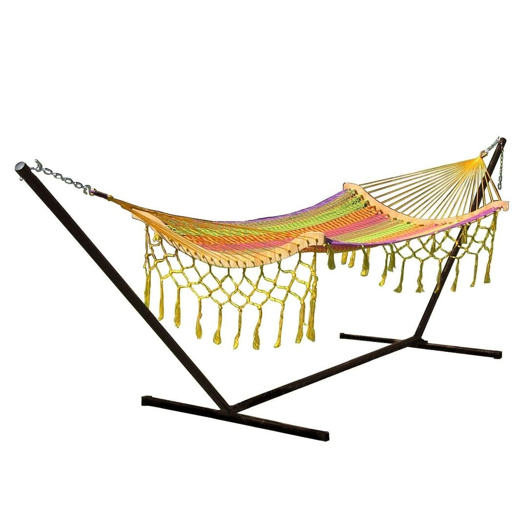 sunnydaze thick cord mayan hammock with curved spreader bars  hammock only   natural   cotton   sunnydaze decor patio furniture sunnydaze thick cord mayan hammock with curved spreader bars      rh   pinterest