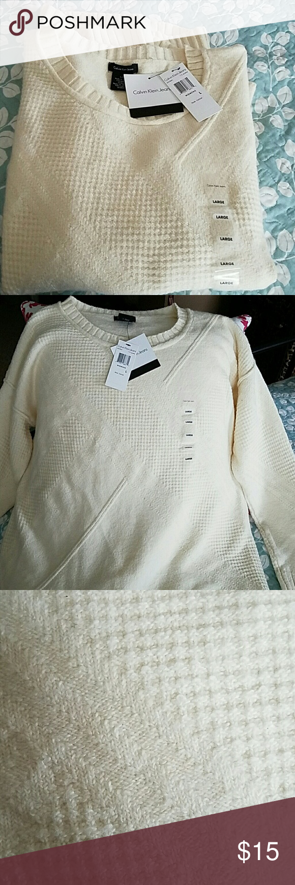 Winter White Sweater Super soft winter white sweater is perfect for your winter wardrobe! Wear casually or dress up with a scarf. Never worn! Calvin Klein Jeans Sweaters Crew & Scoop Necks