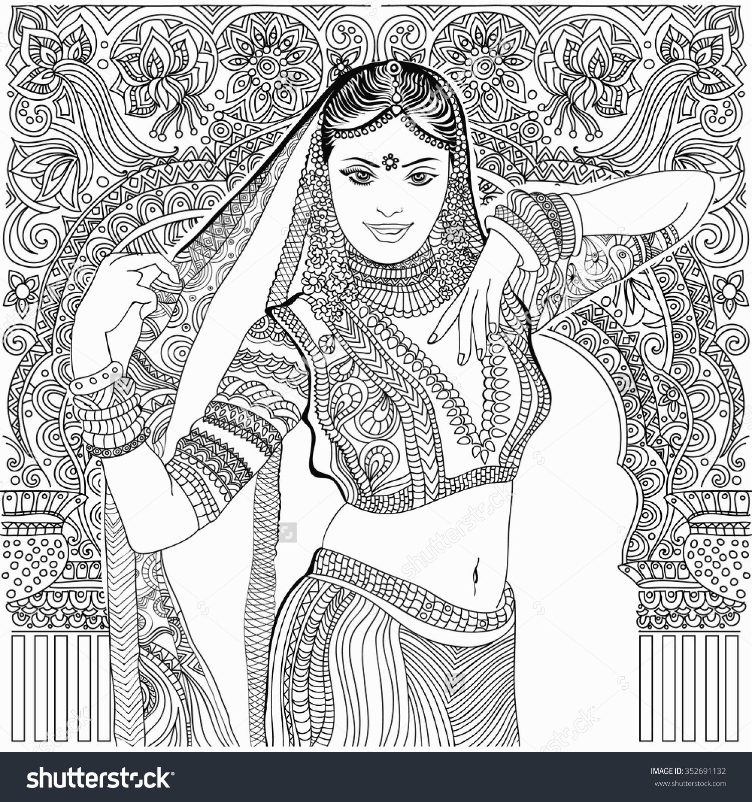 Beautiful Indian Woman Coloring Page With Images Color