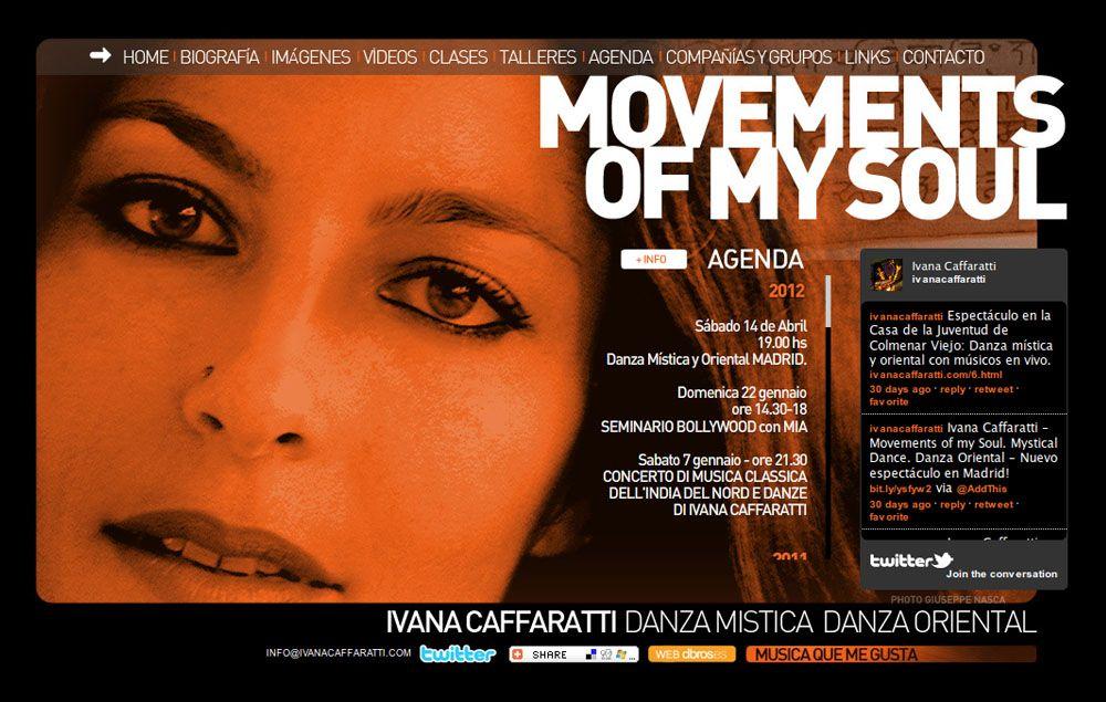 Movements of My Soul. 2008-2012. Web de la bailarina del vientre Ivana Caffaratti. HTML. Flash.