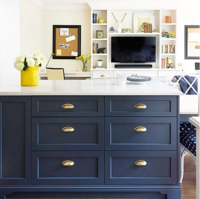 This Kitchen Island Is Bold And Sophisticated With Benjamin Moore Hale Navy Hc 154 Paint Your Cabinets Furniture Advance