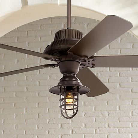 60 Quot Industrial Forge Marlowe Cage Outdoor Ceiling Fan