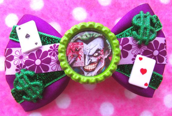 Batman Joker Clown Prince Comic Book Hair Bow by hobbittownjewelry