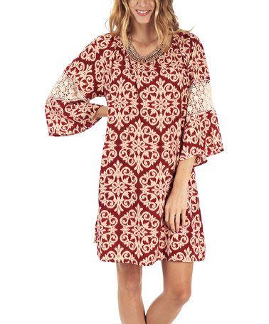 Love this Burgundy & Beige Damask Crochet Scoop Neck Dress on #zulily! #zulilyfinds
