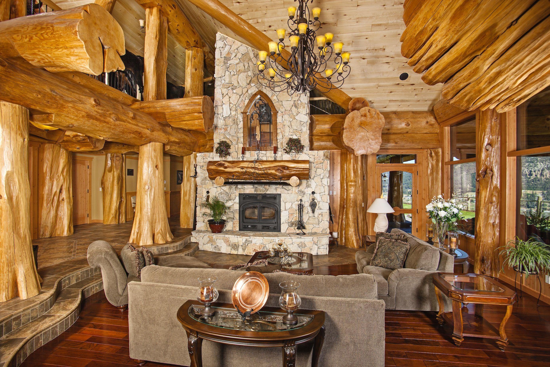 Log Home Living Room Image Courtesy Of Hilliard Photographics