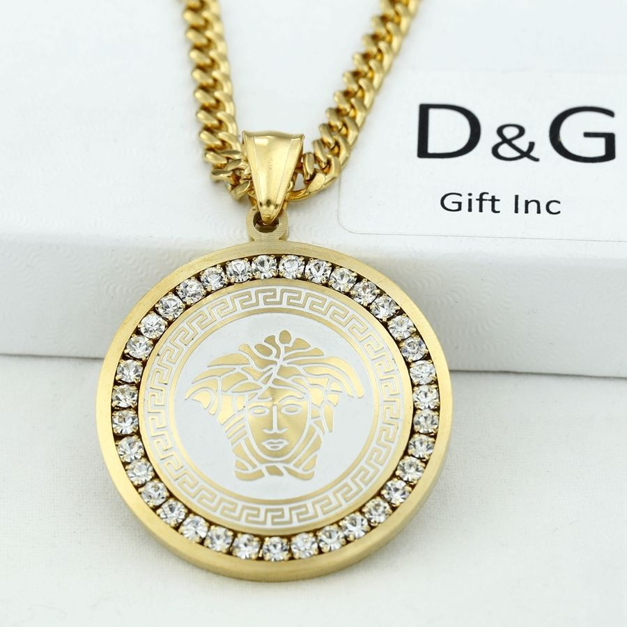 Fancy DG Men us Stainless Steel Gold Cuban Necklace mm Eternity Pendant Box