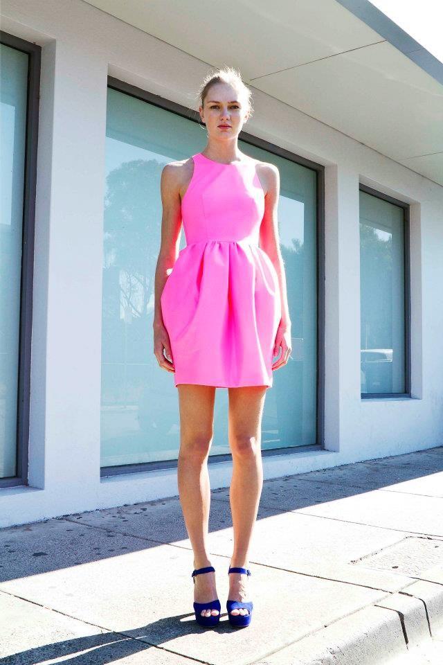Get the look: Alexander Mcqueen Neon Pink Racer Dress, Miles of ...
