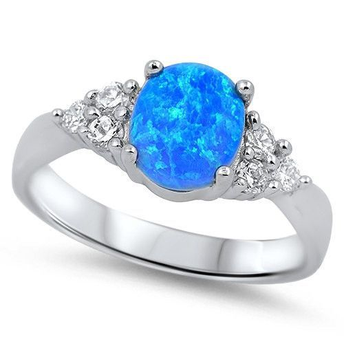 1.50 Carat Oval Blue Australian Fire Lab Opal 925 Sterling Silver Ring Russian Iced Out Diamond CZ Fashion Solitaire Diamond Accent