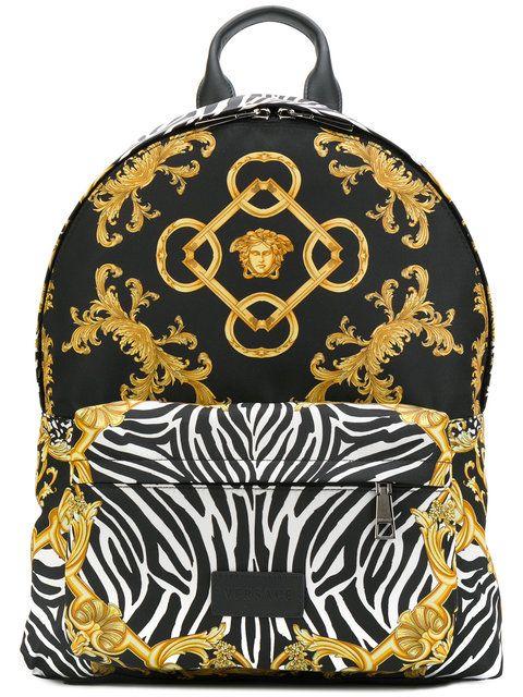 e7f232874c9a VERSACE Baroque Zebra Print Backpack.  versace  bags  leather  nylon   backpacks