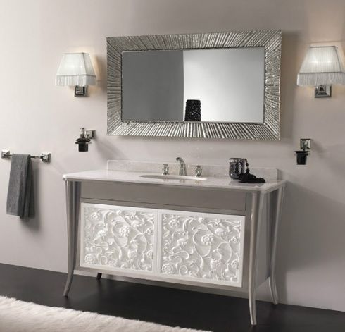 Charming These Chic Bathroom Vanities By Etrusca Will Bathe Your Bathroom In  Elegance. The Vintage Vanity Features A Graceful Floral Relief Pattern In  White Or Crea Pictures