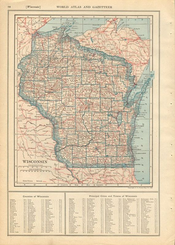 Vintage 1920s map wisconsin and washington pink and blue state map vintage 1920s map wisconsin and washington pink and blue state map from 1923 gumiabroncs Images