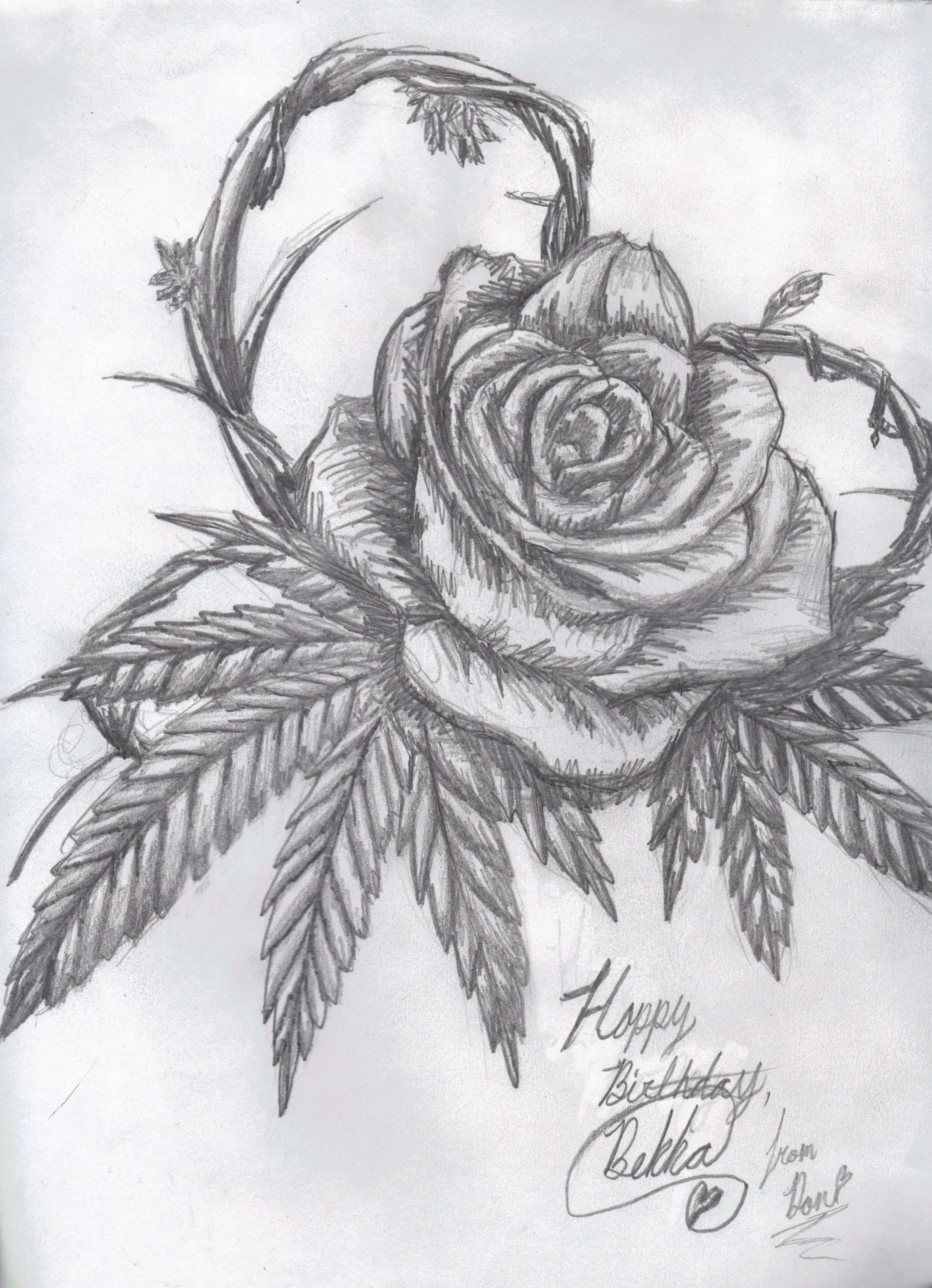 cannabis rose by kz animal traditional art drawings surreal 2013 2015 ...