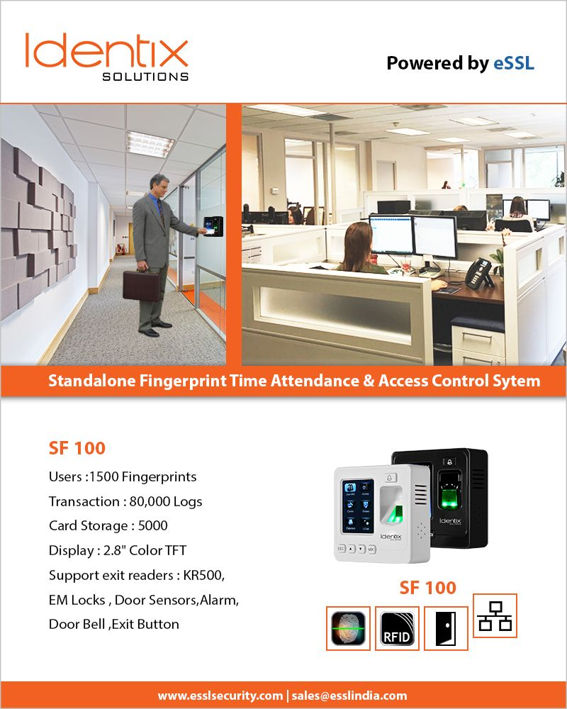 SF100 Standalone Fingerprint Time Attendance and Access Control