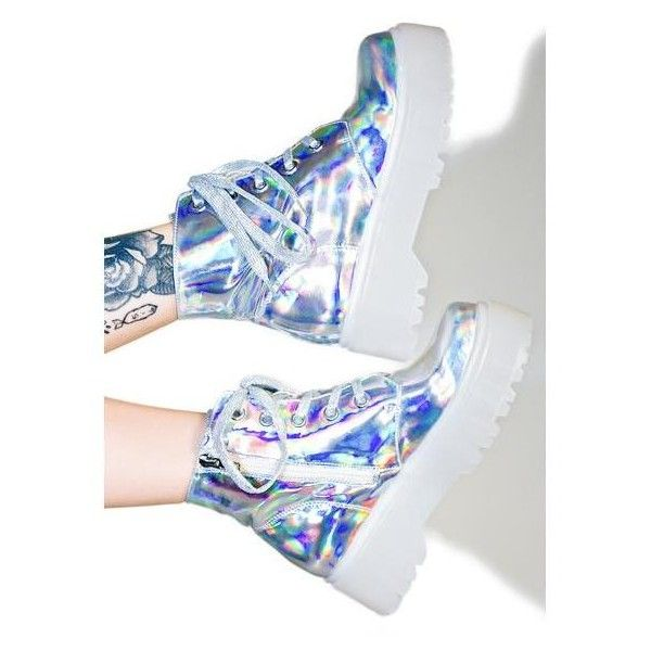 1acb3af3183 Demonia Hologram Trinity Boots ( 120) ❤ liked on Polyvore featuring shoes
