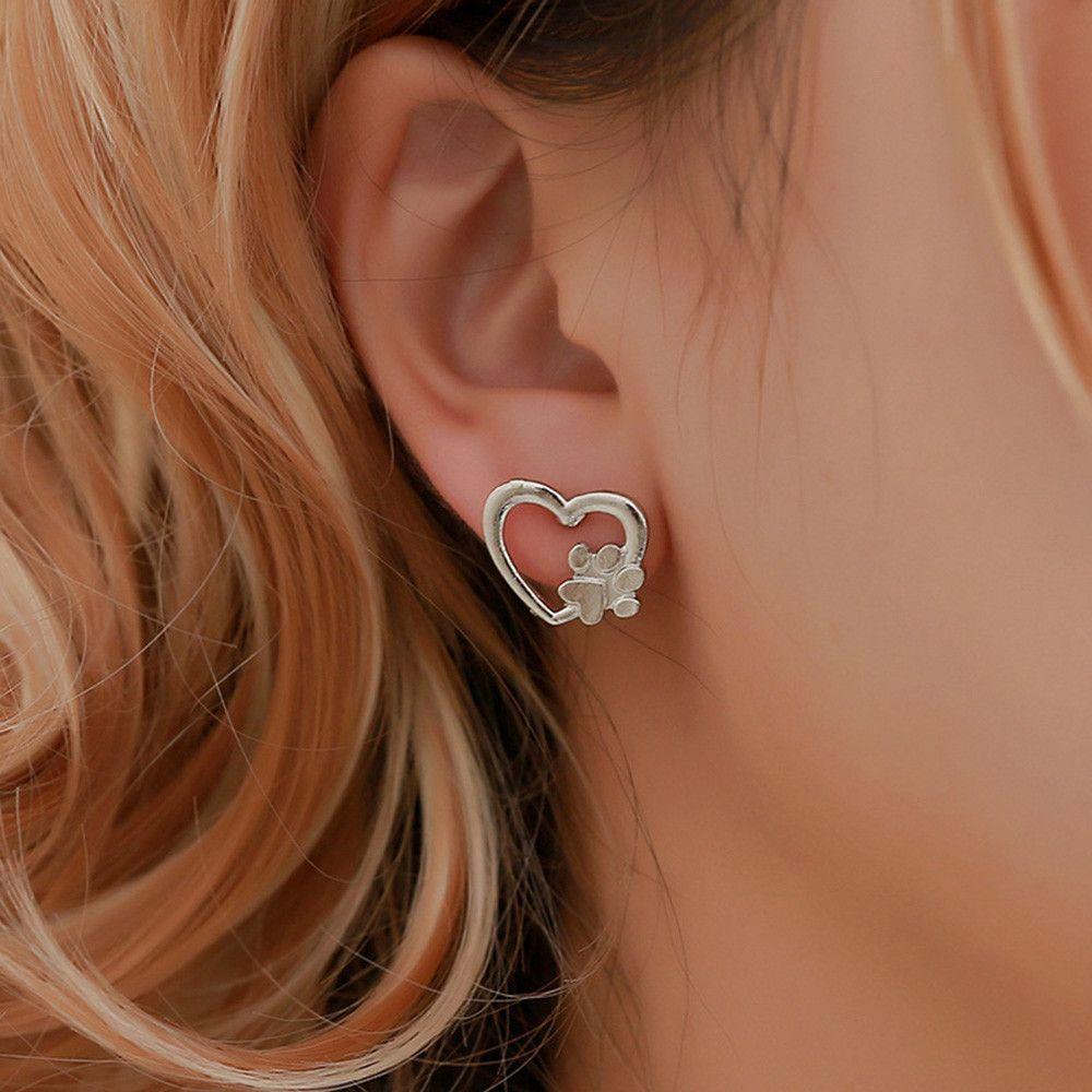 Dog Paw Earring Silver Plated Dog Paw Print Ear Studs ECG earrings Lovers Jewelry