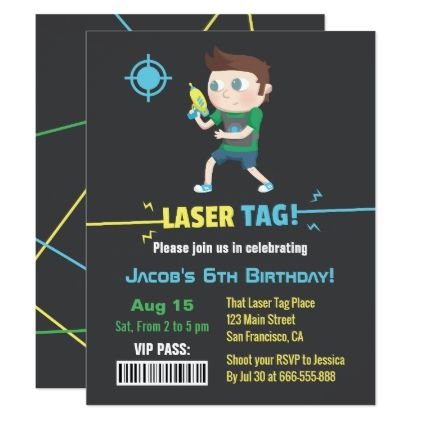 Laser tag vip pass boys birthday party invitations birthday laser tag vip pass boys birthday party invitations birthday invitations stopboris Choice Image