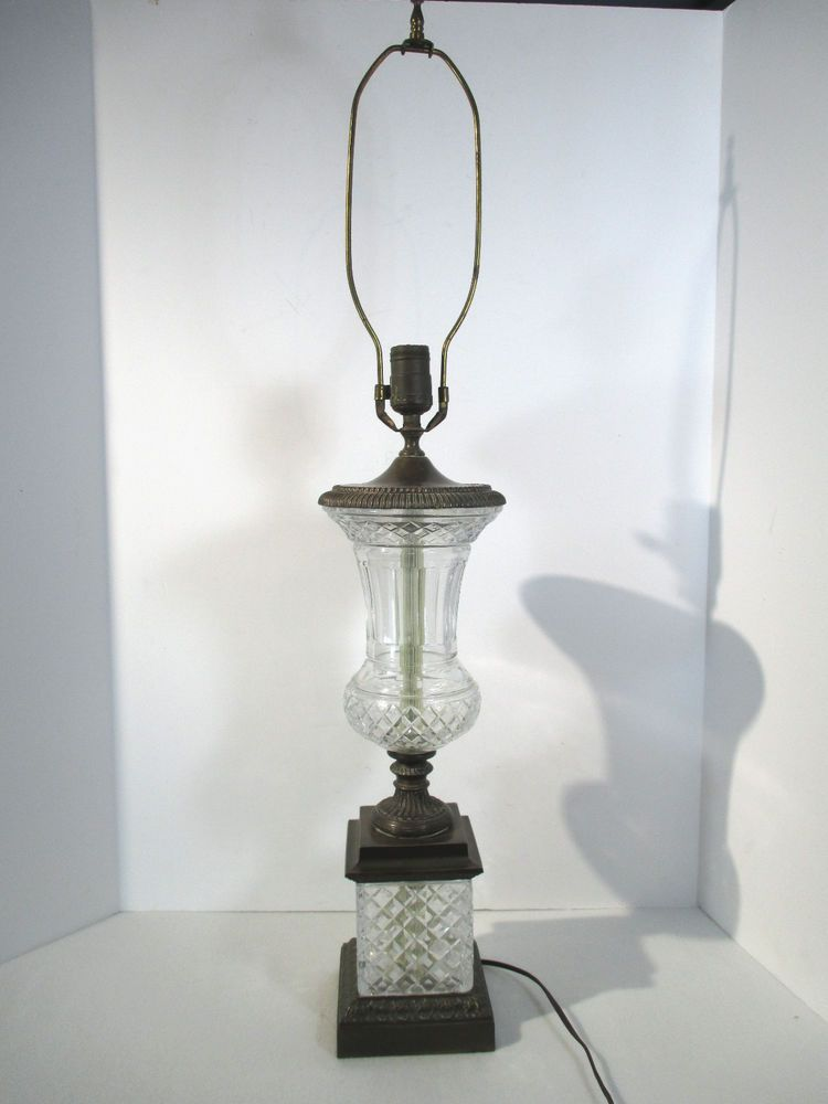 Pressed Glass Brass Table Lamp Vintage 1940s 3 Way Switch Block Urn 33 Tall Vintage Table Lamp Brass Table Lamps Lamp