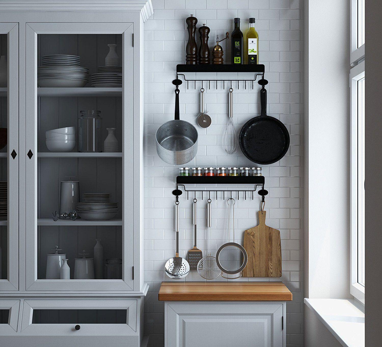Amazon.com: Floating Kitchen Shelf Spice Rack With 12 Hooks for ...