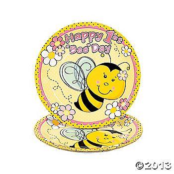 8 1st Birthday Bee Dinner Plates