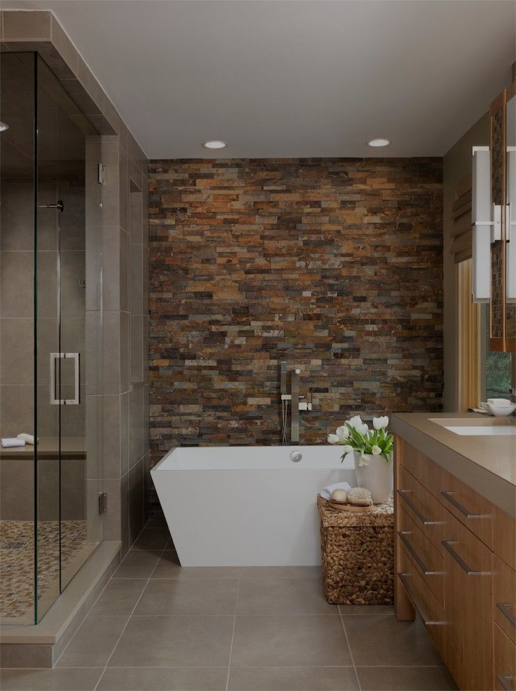 Stacked Stone Wall In Bathroom Contemporary With Brown Tile Shower Beige Countertop Bathtastic