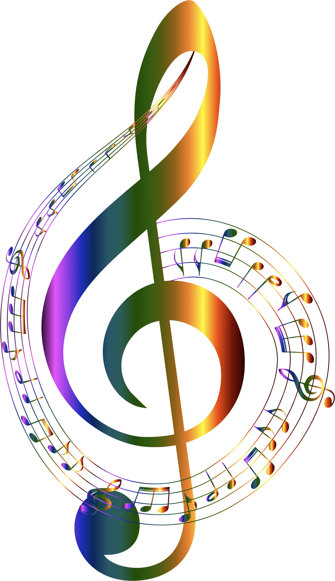 Chromatic Musical Notes Typography No Background by GDJ