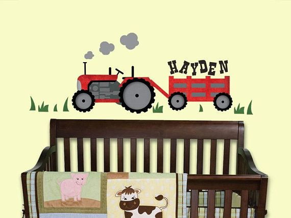 Tractor wall decal/ Tractor wall decals/ Red tractor sticker/ Farm ...
